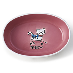 Silly Kitty Oval, White/Pink, 2 cups