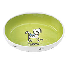 Silly Kitty Oval, White/Lime Green, 2 cups