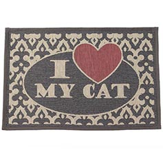 I Love My Cat Gray/Pink Tapestry Mat 13
