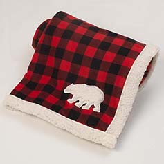 Jackson Polar Bear Fleece Blanket, Red/Black