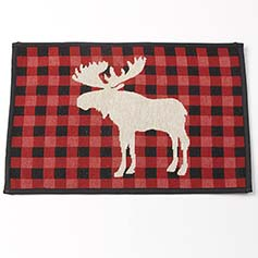 Buffalo Check Moose Tapestry Placemat, Red/Black 13x19