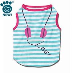 Headphones Striped Graphic Tee, Teal/Pink