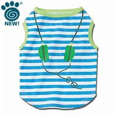 Headphones Striped Graphic Tee, Blue/Lime
