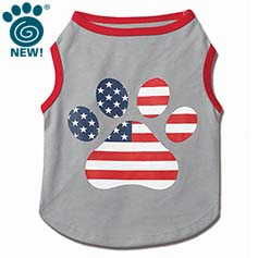 Flag Paw Print Graphic Tee, Gray