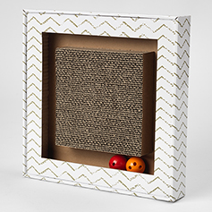 Sylvester's Interactive Corrugated Cat Scratcher with Jingle Balls, White/Gray Chevron, 13.39