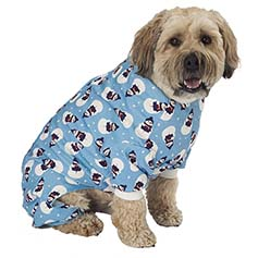 Snowman Dog PJs, Antique Blue