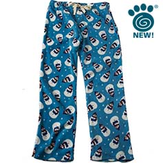 snowman unisex human pj bottoms antique blue