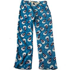 Snowman Unisex Human PJ Bottoms, Antique Blue