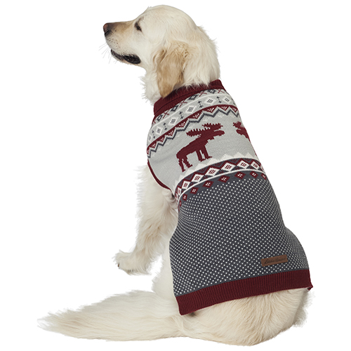 Eddie Bauer PET, Moose Fair Isle Sweater, Brick Red/Gray