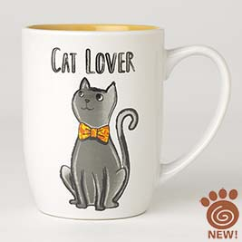 Cat Lover Mug 24oz, White/Yellow