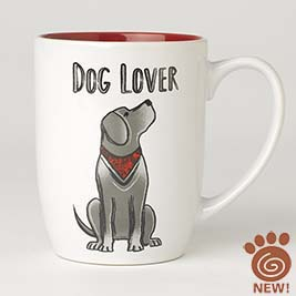 Dog Lover Mug 24oz, White/Red
