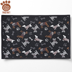 Tossed Dogs Tapestry Mat, Black 19