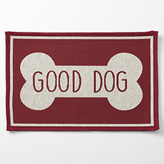 Good Dog Bone Tapestry Mat, Red 19