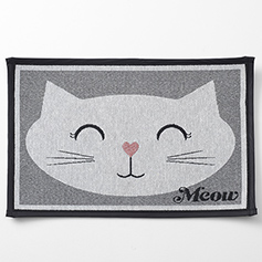 Sleepy Kitty Tapestry Mat, Gray 19