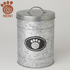 Swirl Paw Plaque, Galvanized Treat Canister, Small