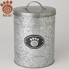 Swirl Paw Plaque, Galvanized Treat Canister, Large