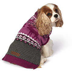Eddie Bauer PET, Moose Fair Isle Sweater, Dusty Purple/Gray