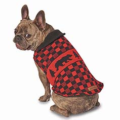 Eddie Bauer PET, Woods Creek Lined Sweater, Red/Black Bear