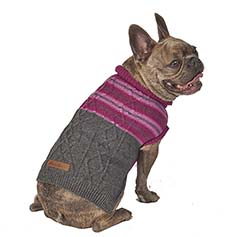 Eddie Bauer PET,Ashford Stripe Cable Sweater, Plum Wine/Gray