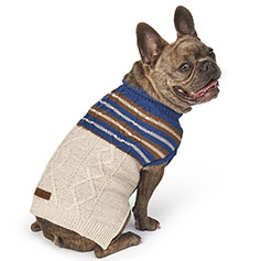 Eddie Bauer PET, Ashford Striped Sweater, Oatmeal/Blue