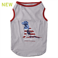Eddie Bauer PET, American Flag Dog Tee, Gray